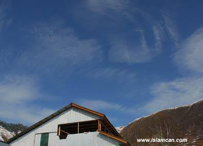 Clouds form the name of Allah in Kashmir
